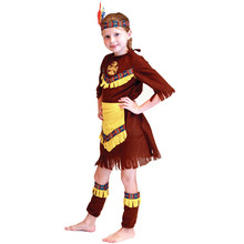 7 Sets/lot Kids Girls American Indian Costumes Carnival Halloween Masquerade Party Children Cosplay Clothes Princess Fancy Dress