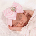 Europe style Baby Hat big butterfly bright diamond autumn winter newborn photography props baby knit cap
