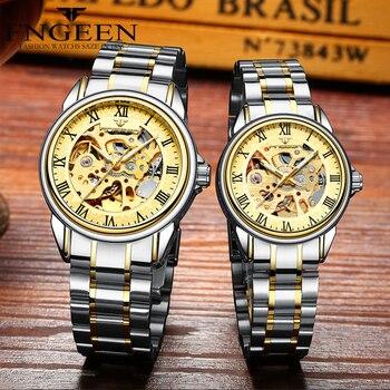Par de relojes de la marca superior de acero reloj de pulsera mecánico para los hombres y las mujeres Orologio Uomo Tourbillon Esqueleto Relogio femenino Saats