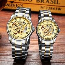 Çift saatleri üst marka çelik mekanik kol saati erkekler ve kadınlar için Orologio Uomo Tourbillon İskelet Relogio Feminino Saats