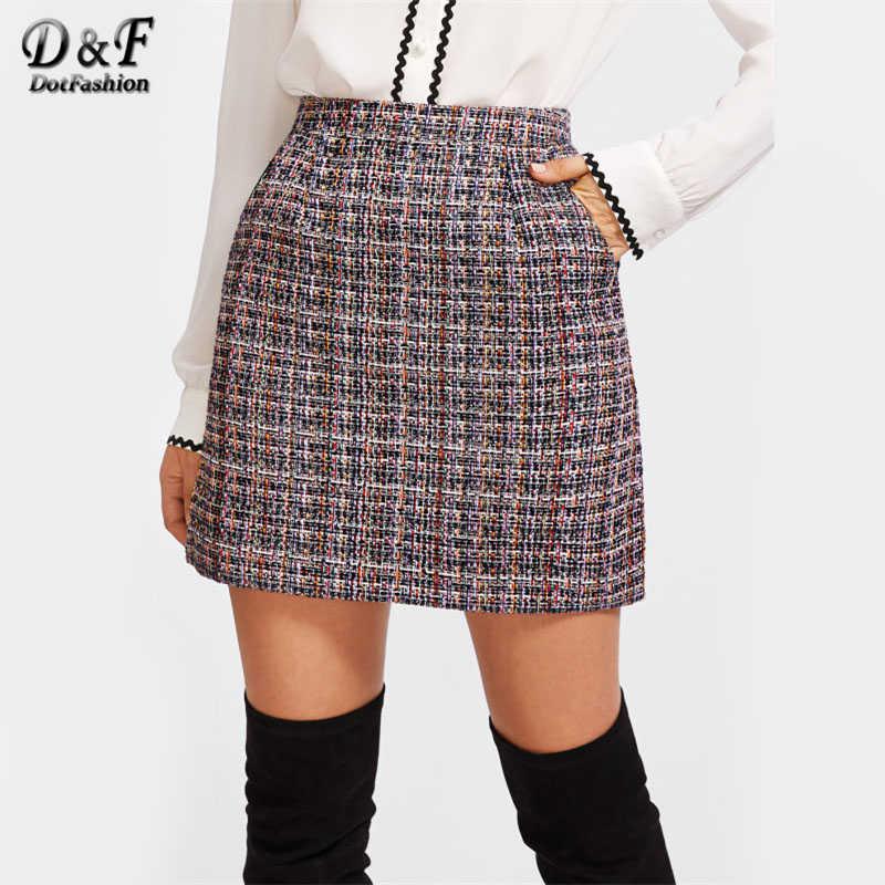 5fddb2407 Detalle Comentarios Preguntas sobre Dotfashion Zip Back Tweed falda ...
