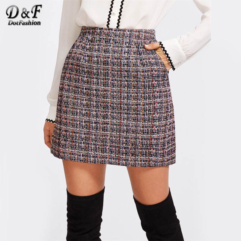 3ee938460a Dotfashion Zip Back Tweed Winter Skirt Women 2019 New Arrival Multi Plaid  Cute Bottoms For Ladies A Line Short Skirt