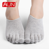 Women No Show White Socks With Five Toes Deodorant Soft 3 Pairs Solid Color Black Casual