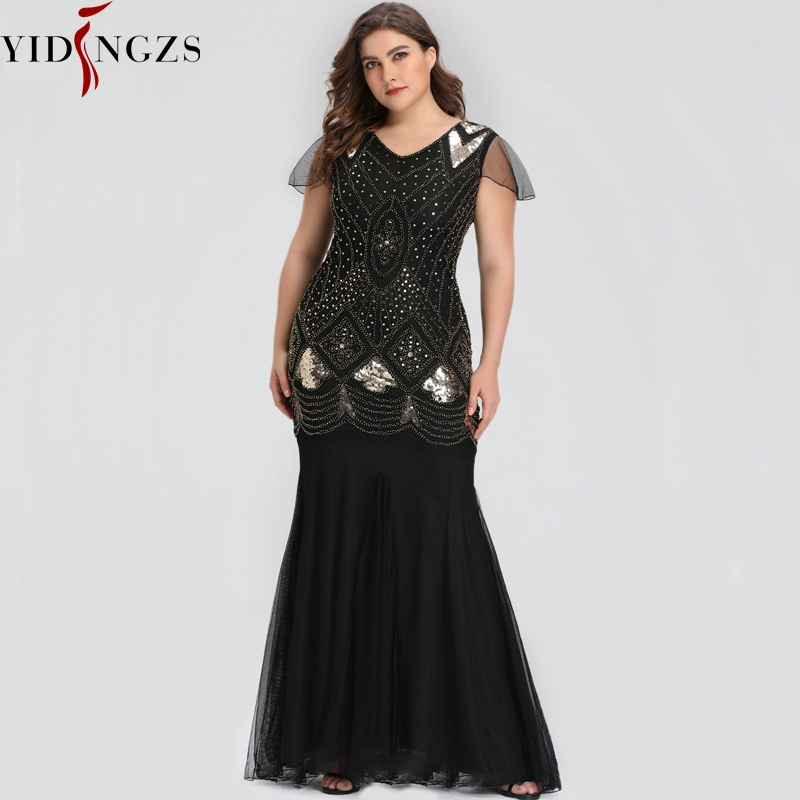 Plus Size Evening Dress Black Golden Sequins Beaded Formal Long Evening Party Dress 2019