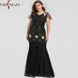 Вечернее платье размера плюс, черное, золотое, с блестками, с бисером, официальное, длинное, вечернее платье GA81