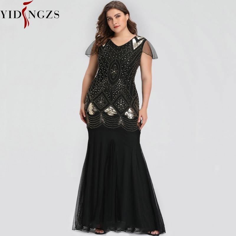 Plus Size Evening Dress Black Golden Sequins Beaded Formal Long Evening Party Dress Robe De Soiree 2019