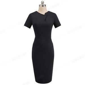 Image 4 - Nice robe fourreau pour femmes, tenue de travail, moulante, Vintage élégante, couleur Pure, col irrégulier, B496