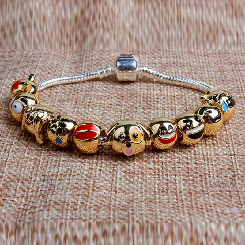 Fasteners & Hooks Good Animal Bead Cat Head Diy Gold Color Jewelry Wholesale Alloy Beads Love Expression Bracelet Beads Hardware