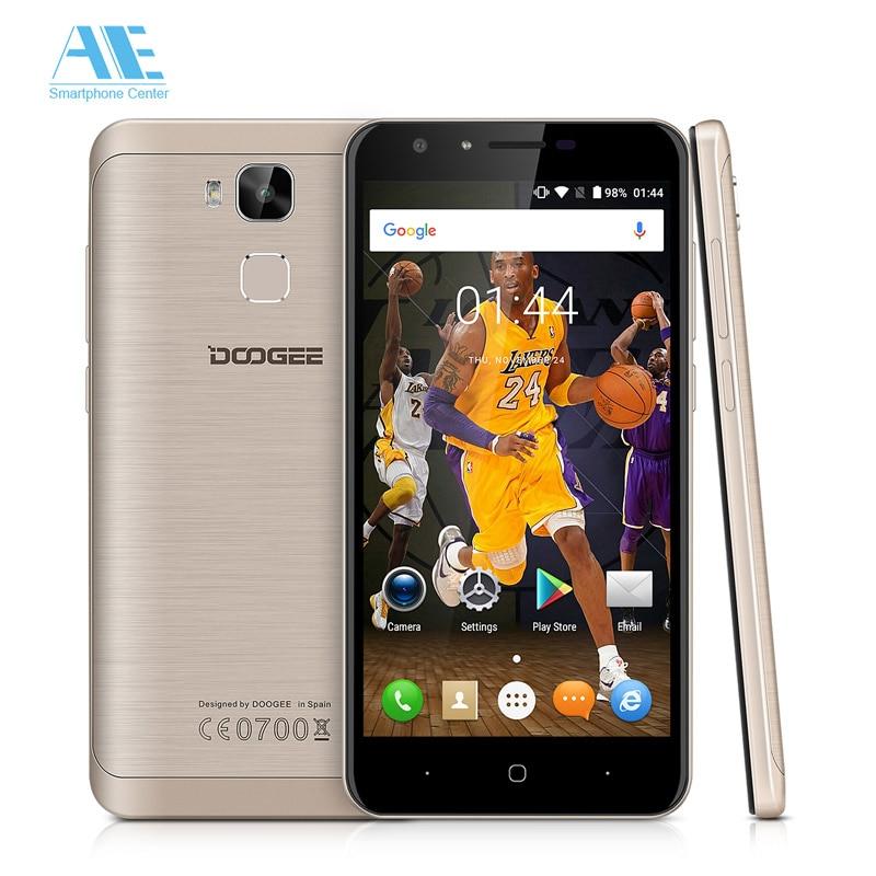 Цена за Y6 mt6750 окта ядро android 6.0 смартфон doogee 5.5 дюймов 4 Г 2 ГБ RAM 16 ГБ ROM 3200 мАч Отпечатков Пальцев 13.0MP Камеры Мобильного телефон