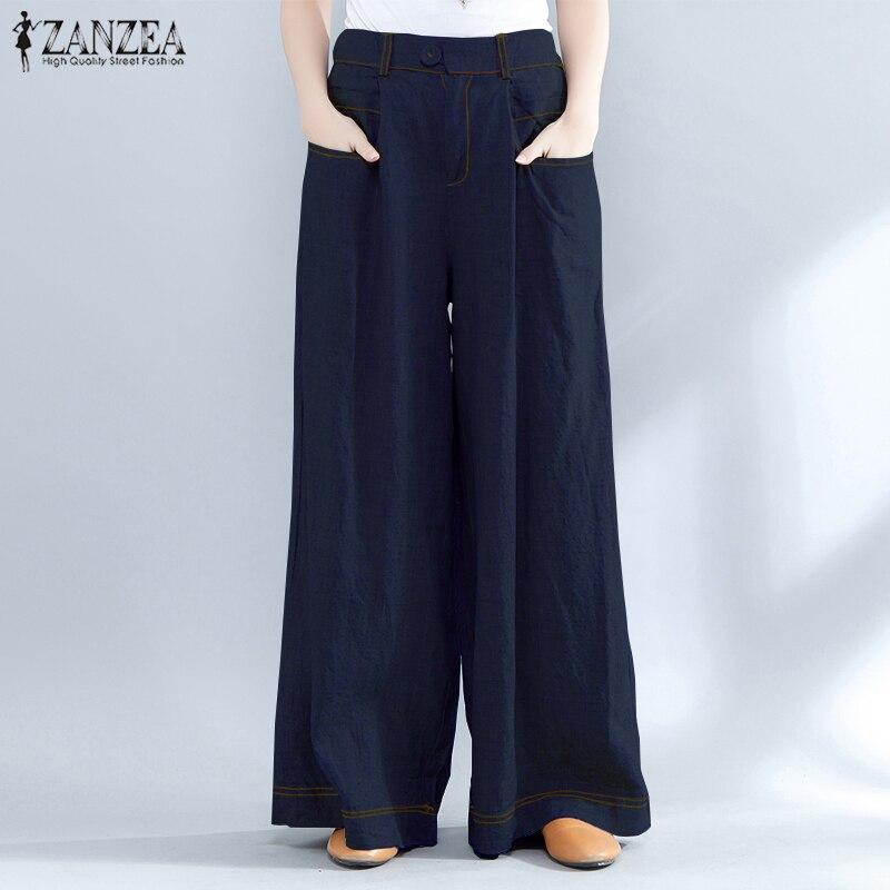 2019 ZANZEA Summer Baggy OL Work High Waist Long Trousers Women   Wide     Leg     Pants   Casual Denim Style Loose Pantalon Plus Size