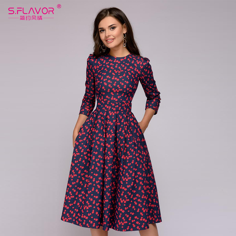 S.FLAVOR Women Elegant A-line Dress 2019 Vintage printing party vestidos Three Quarter Sleeve women Slim Summer Dress(China)