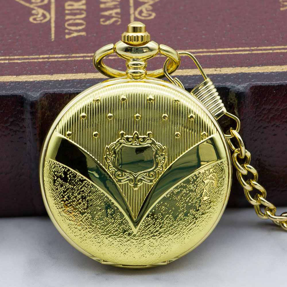 Antique Luxury Hand Wind Steampunk Skeleton Mechanical Pocket Watches Golden Men Necklace Pocket & Fob Watch Chain PJX1322
