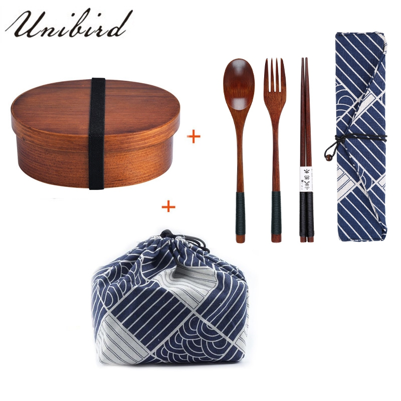 Unibird Japanese Wooden <font><b>Lunch</b></font> <font><b>Box</b></font> Compartment Sushi Food Container for Kids Bento <font><b>Box</b></font> with Bag&Spoon Chopsticks Dinnerware Set image