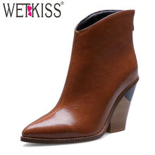 WETKISS Snake Skin Western Boots Women Cowboy Booties High Heels Wood Shoes Female Pointed Toe Shoes Ladies Winter Plus Size 44(China)