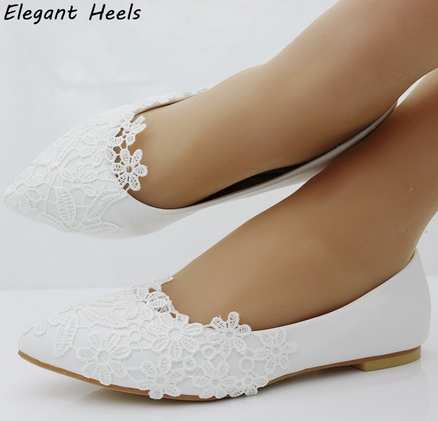 Fashion Ballet Flats White Lace Wedding Shoes Flat Heel Casual Pointed Toe Women