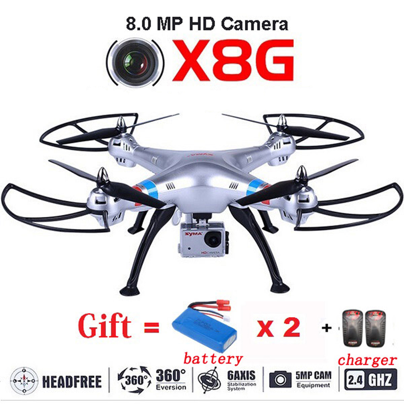 Free shipping SYMA Drone X8G Quadcopter Drones With Camera HD 8.0MP RC Helicopter add 2pcs Batteries and Chargers As Gift