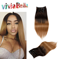 7A Human Hair Clip Ins Ombre Natural Hair Clip Extensions 70g-160g/set 100% Clip In Human Hair Extensions T2/8 Ombre Brown Roots
