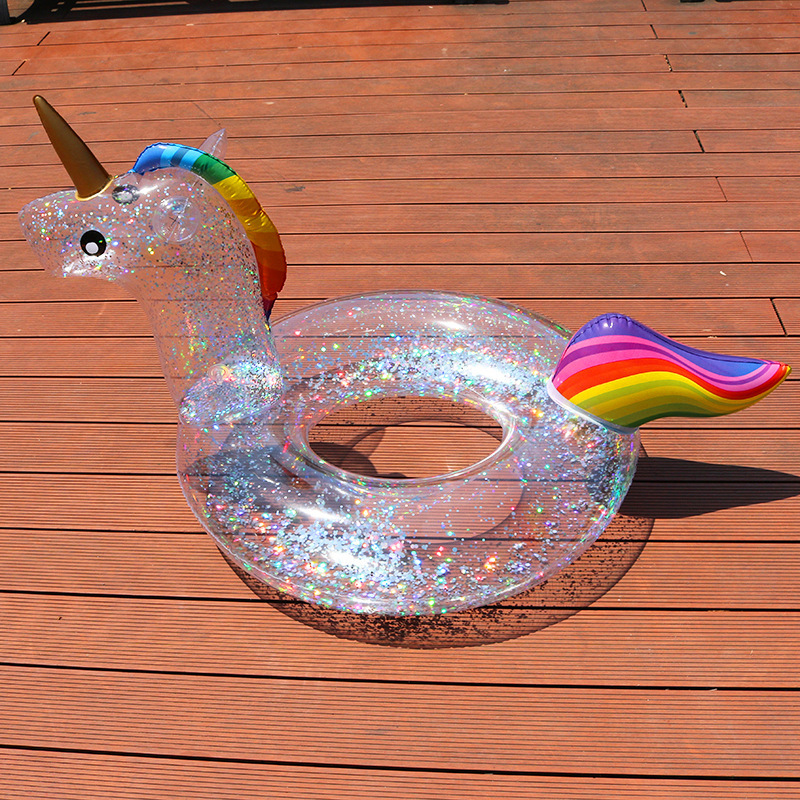 Sequin Unicorn Pool Float Flamingo Children's Inflatable Circle Baby Swimming Ring Clear Shiny Swimming Pool Toys