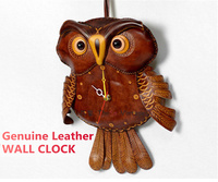 2019 New Genuine Leather Large Owl Wall Clock Modern Design Home Decor Cuckoo Bird Clocks Kids Children Watch Gift Ideas