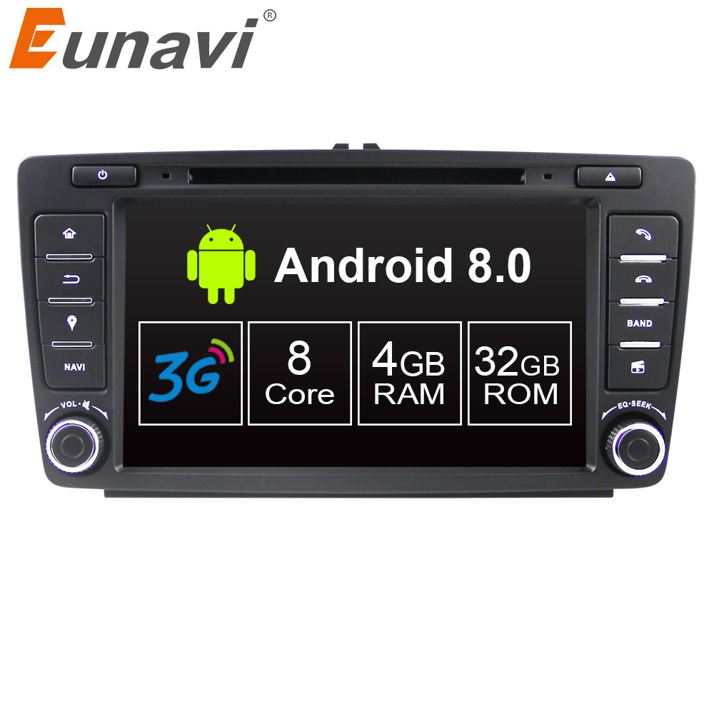 Eunavi 8'' 2 din Android 8.0 4G RAM Octa core Car DVD Player For Skoda Octavia 2014 2015 A7 GPS Navigation Radio RDS WIFI USB BT funrover 9 hd quad core ram 2g android 8 0 car navigation gps player for suzuki sx4 2006 2013 wifi rds radio bt fm usb no dvd