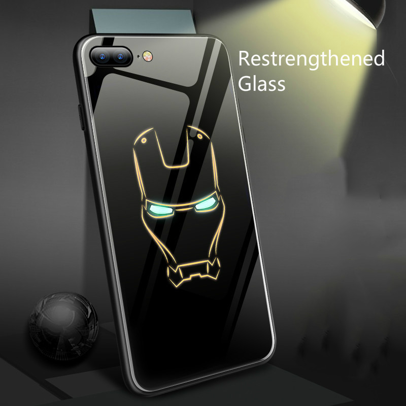 Coque Marvel Batman Iron Man Luminous Glass Phone Iphone X 6 6S 7 8 Plus 7Plus XS Max XR 5 Spiderman Black Panther Case