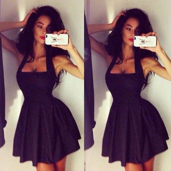 72a4768804cd Cheap Sexy A Line Backless Halter Neck Women Party Gowns Short Black Robe  De Cocktail Prom Dresses Vestidos De Coctel