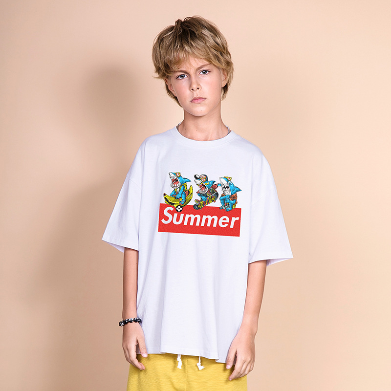 T-Shirt Oversize Short-Sleeve Summer Top Shark Teenagers Boys 16-Years Cotton Cartoon