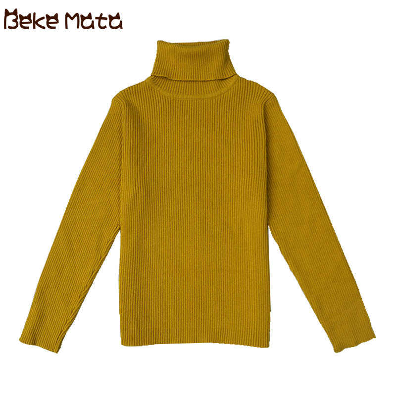 Baby Turtleneck Sweaters For Girls Autumn Winter 2018 New Casual Solid Knitted Kids Sweaters Boys Cotton Children's Sweater 1-6Y