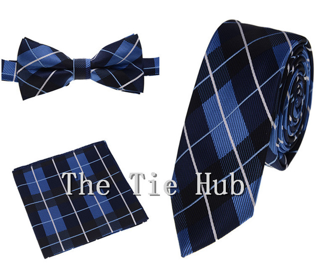 c7b589879c92c Navy And Blue Plaid Bow Tie And Pocket Square