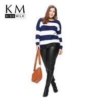 Kissmilk Plus Size Fashion Women Clothing Casual Striped Regular Warm Pullover Sweater Long Sleeve O Neck Sweater 4XL 5XL 6XL