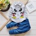 BibiCola Primavera outono Crianças mickey mouse Conjuntos de Roupas de bebê Meninos roupas Criança Moda Cavalheiro camisa de manga longa t + calças de brim terno