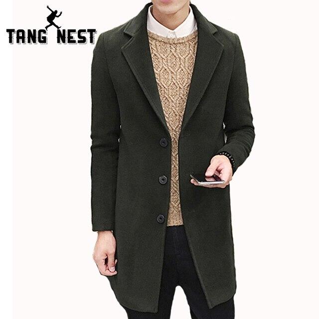 Tangnest outono homens casaco de inverno 2017 nova chegada de moda casual longo Trench Coat Masculino 8 Cores Sólidas Casaco Bonito Magro MWF291