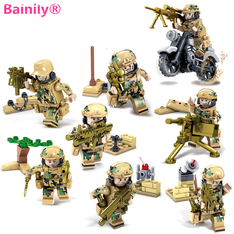 [Bainily]8pcs/set Weapons Army Soldiers Building Set Blocks Toys For Children Compatible With LegoINGly Weapon pvc building blocks army field combat military escort weapons