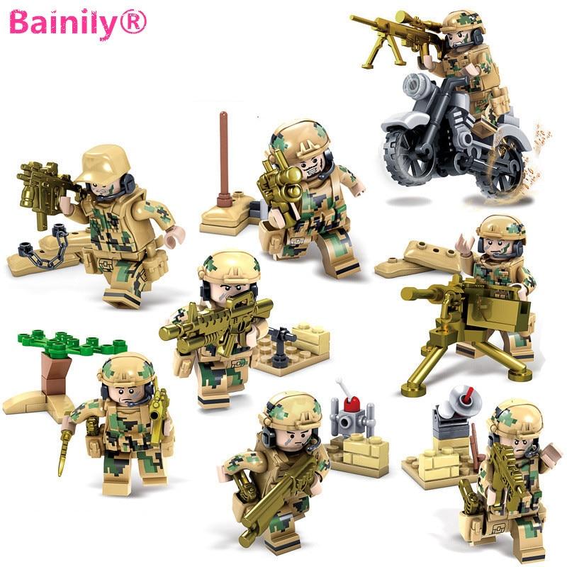 Bainily 8pcs set Weapons Army Soldiers Building Set font b Blocks b font font b
