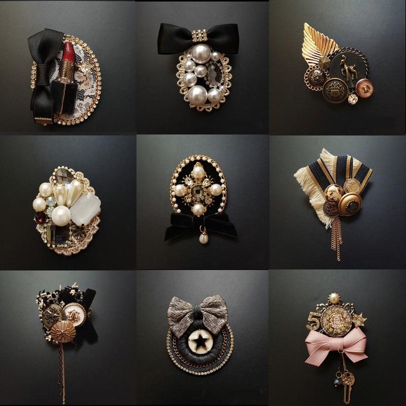 Vintage Baroque Court vent Badge frange broche tissu tricot arc perceuse manteau chandail accessoires pour femme