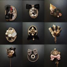 Broche à franges pour femme, Badge Court style Baroque, Vintage, pour tissu, nœud de perçage, manteau, accessoires pour pull