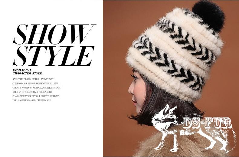 Real mink fur hat double arrow horizontal stripes 06