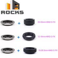 M42 Lens Adjustable Focusing Helicoid Macro Tube 25 55mm/12 19mm/15 26.5mm+Lens Adapter For M42/C Mount Lens to For FX Camera