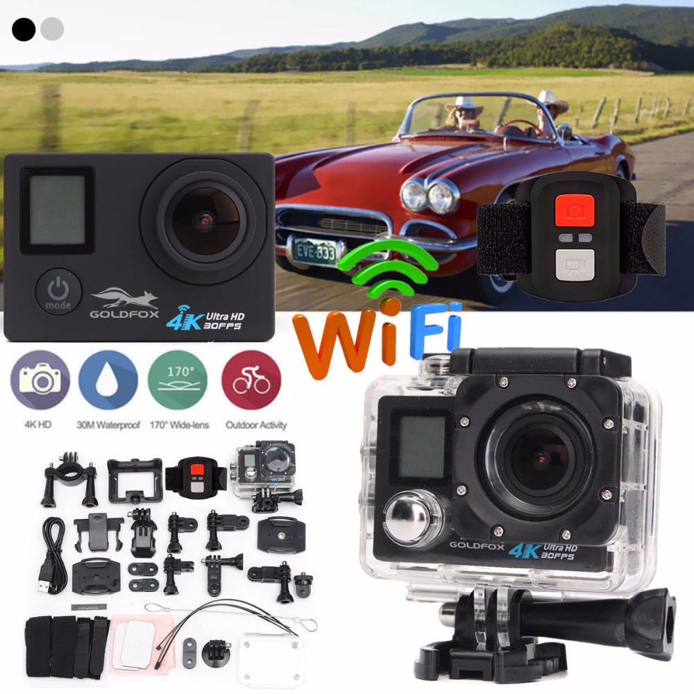 LCD Dual Screen Ultra HD 4K WiFi Sports Action Camera 16MP Wifi 1080P Waterproof Sports DV Bike Helmet Camera + Remote Control