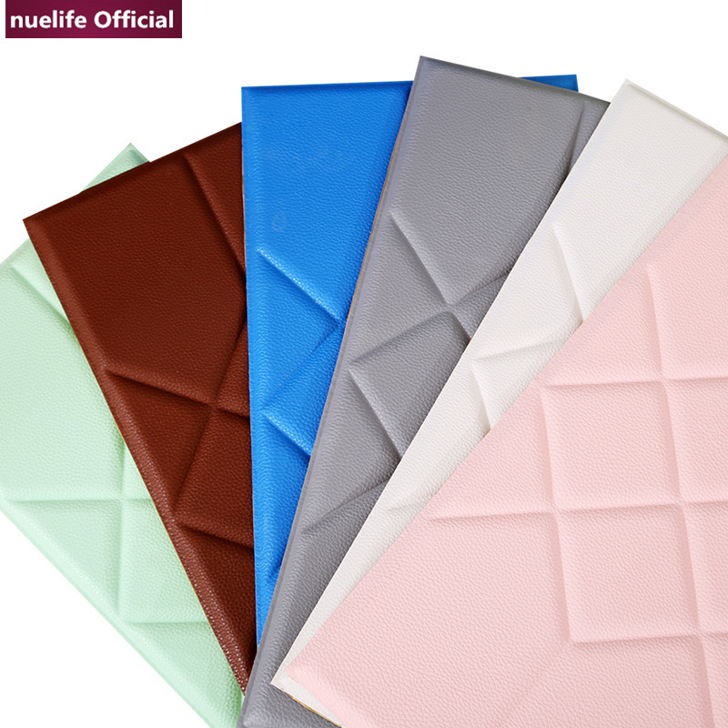 3D leather geometric pattern livingroom bedroom kidsroom weddingroom clothing store waterproof anti collision foam wall stickers in Wall Stickers from Home Garden