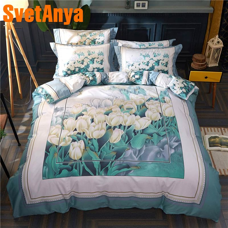 Svetanya Tulips print Bedding Set 100 Cotton Linens Queen Full Double King Size Svetanya Tulips print Bedding Set 100 Cotton Linens Queen Full Double King Size