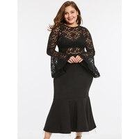 Black Lace Patchwork Dress Women Sexy See Through Long Flare Sleeve O Neck Bodycon Dress Elegant Midi Vintage Dress Vestidos