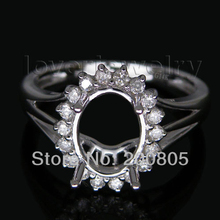 Vintage Oval 7x9mm 14Kt White Gold Natural Diamond Semi-mount Ring Fine Jewelry for Women Wedding Christmas Gift Wholesale WU128