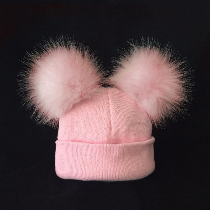Kids Warm Winter Caps Double Fur Pom Pom Beanie Wool Knitted Hat For Baby Boys Girls Pompom Raccoon Balls Beanie Cap Bonnet mut ...