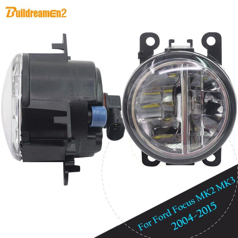 Buildreamen2 For 2004-2015 Ford Focus MK2 MK3 Car Accessories Front LED Lamp Fog Light Daytime Running Light DRL White 12V цена