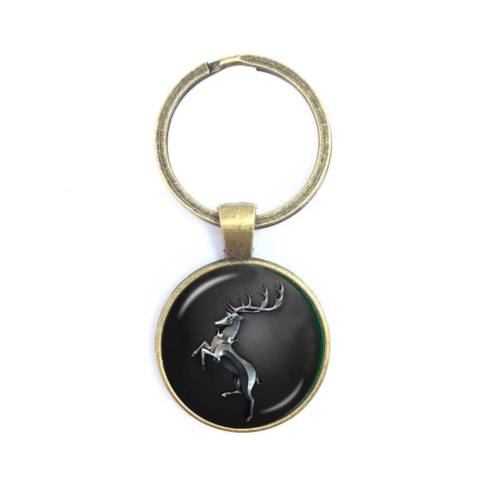 Song of Ice and Fire Game of thrones House Stark wolf keychain cabochon Time  key ring keyring men women handbag hangs