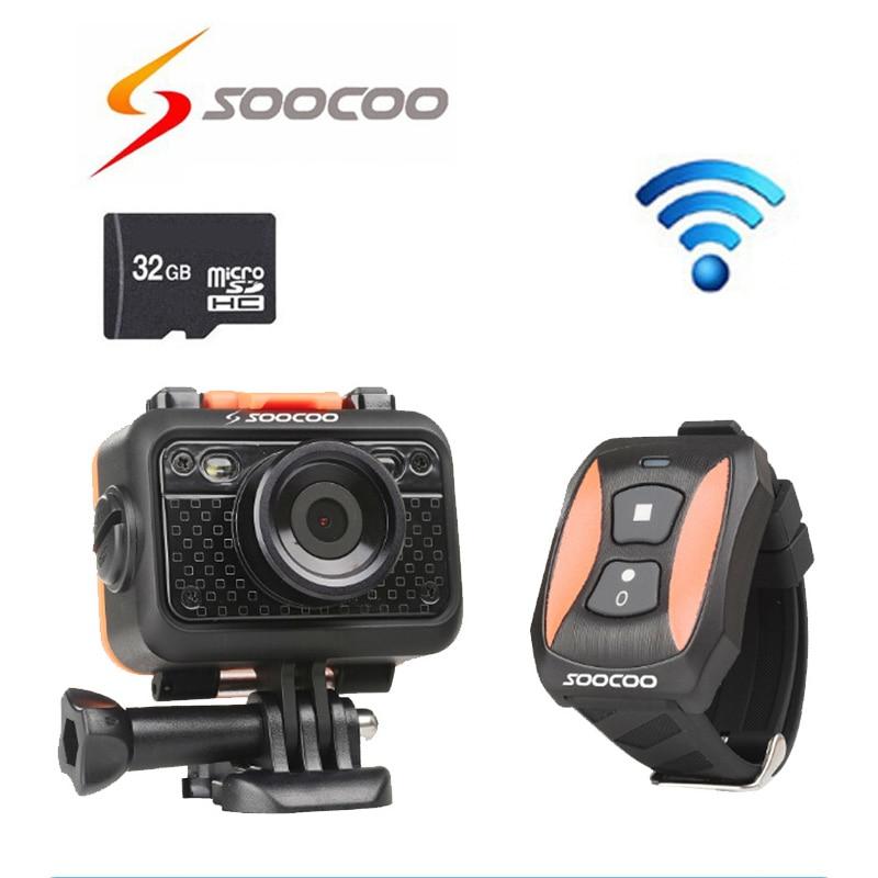 Livraison gratuite!! 32 GB + D'origine Soocoo S60 1080 P Full HD Étanche 60 M SOS Sport DV avec Télécommande Camera Action