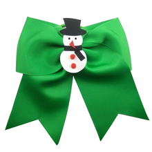 4 pcs new 7 inch Christmas Cheer Bows snowman Elastic Hair Bands For Kids Girls Accessories