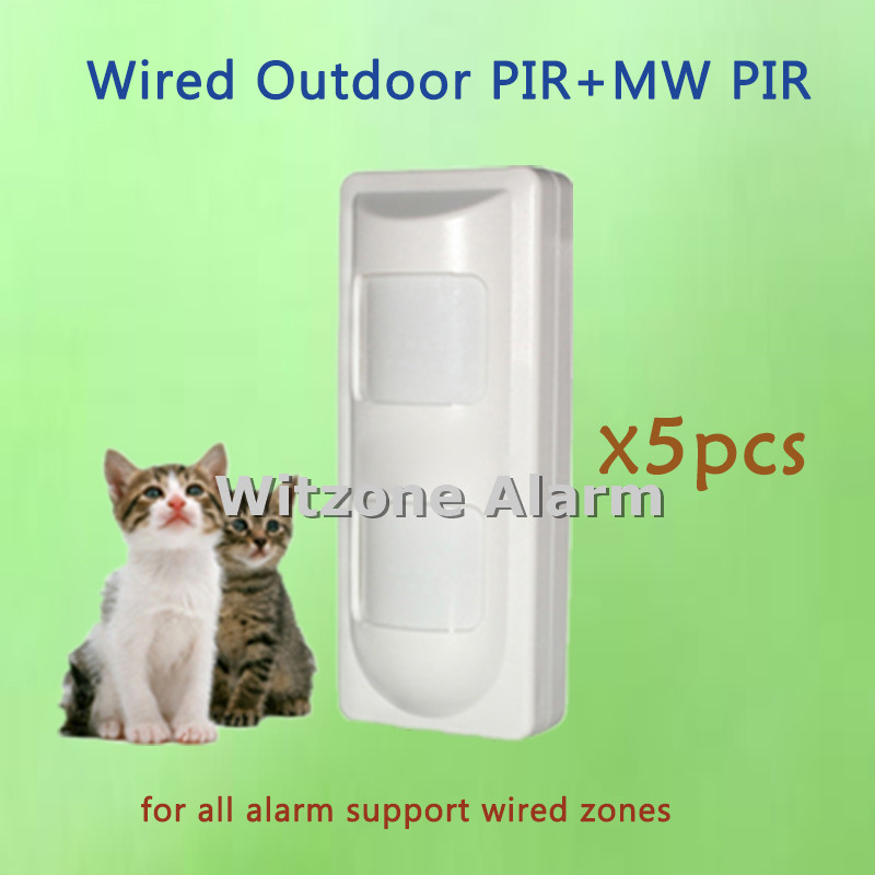 5pcs/lot Wired Outdoor Motion Sensor Pet Friendly 2 PIR + Microwave Complex Anti-Mask PIR Sensor Motion Detector,DHL Free Ship free shipping 6 pieces lot pet immune wired outdoor pir motion detector weather proof outdoor dual pir detector motion sensor