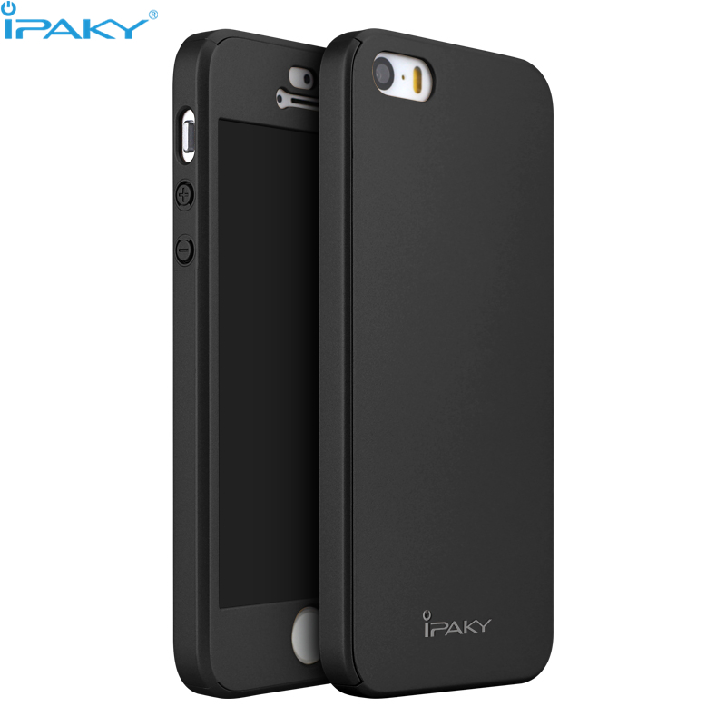 iPaky Original Ultra Thin 360 Full Body Protection Cover Phone Case for iPhone5/5S/SE Case+Tempered Glass Screen Protector